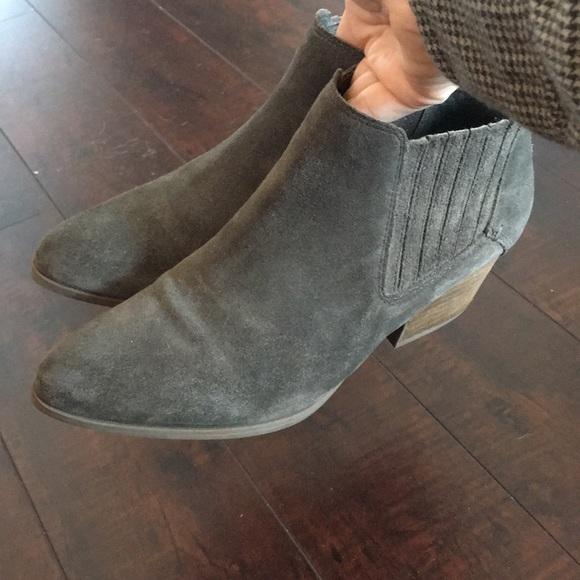 Crown Vintage Shoes - Crown Vintage Gray Green Suede Booties